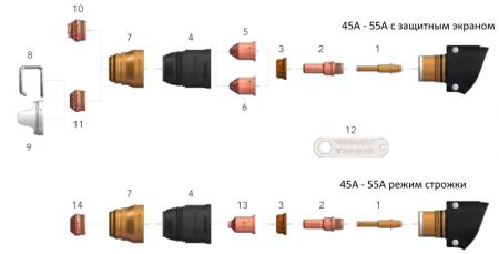 Схема расходников ручного резака FHT-EX 105H - 45-55A